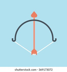 Valentines day, archery icon suitable for info graphics, websites and print media. Color, vector, flat icon, clip art.