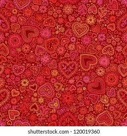 Valentine's day artistic hand drawn red hearts background, vector seamless pattern