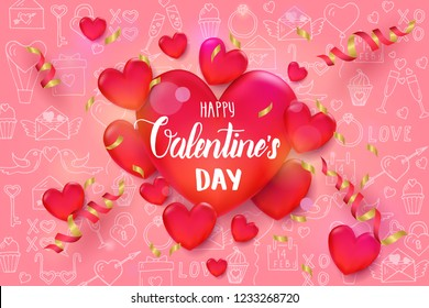 Valentine's day background with 3d red hearts and serpentine on pink pattern with hand drawn love line art symbols. Sketch. Happy Valentine's Day. Vector