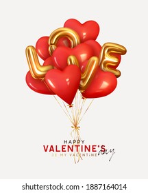 Valentine's day background with 3d red balloons in shape heart with gold metallic text lettering Love. Ballons and ribbon fly. Romantic banner, surprise poster, flyer and brochure. Holiday wedding