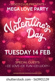 Valentines Day background or banner template with blurred hearts and glitter texture confetti. Love party poster with 3d white hand lettering text on pink backdrop. Colorful font vector illustration.