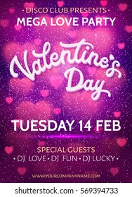 Valentines Day background or banner template with blurred pink hearts and glitter texture confetti. Love party poster with 3d white hand lettering text on purple. Colorful font vector illustration.