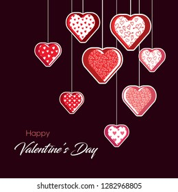 Valentines Day Background. Beautiful hearts vector illustration. Editable and isolated