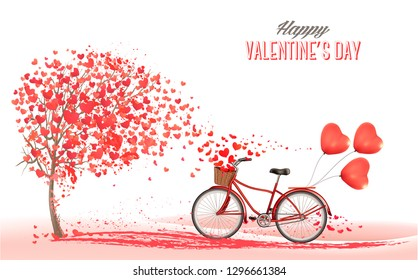 Valentine's Day background with bicycle with red heart shape balloons. Concept of love. Vector