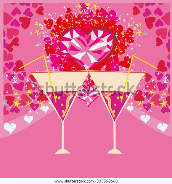 Valentines day background with champagne and hearts