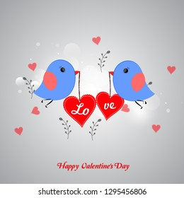 Valentine's Day background with cute little love birds for Valentine's Day celebration.
