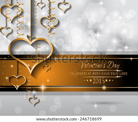 Valentines Day Background Dinner Invitations Romantic Stock Vector