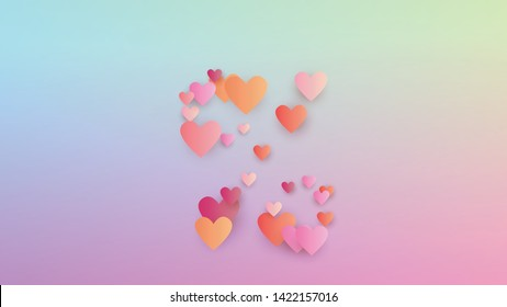 Valentine's Day Background. Flyer Template. Many Random Falling Red Hearts on Hologram Backdrop. Heart Confetti Pattern. Vector Valentine's Day Background.