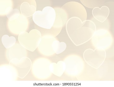 Valentines Day background with golden bokeh lights design