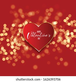 Valentine's day background with heart on a bokeh lights design