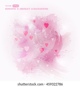Valentine's day background with hearts. Abstract background with pink paint splashes. Imitation paint on the wall. Paint splat grunge background