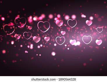 Valentines Day background with hearts and bokeh lights design