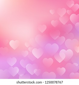 Valentine's Day Background with hearts on pink background. Vector hearts design for your cards, flyers, brochures, posters, banners etc. Vector holiday design