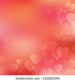 Valentine's Day Background with hearts on living coral background. Vector hearts design for your cards, wedding invitation, flyers, brochures, posters, banners etc. Vector holiday design
