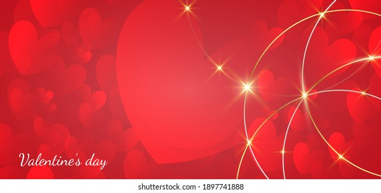 Valentine's day background. Hearts red overlapping with circle border gold and light effect. Vector illustration