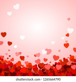 Valentine's day background with hearts. Romantic decoration elements. Background with falling hearts confetti. Vector illustration