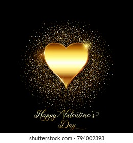 Valentines Day background with metallic gold heart and glittery confetti