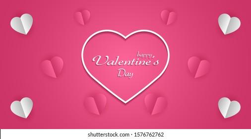 valentines day background, minimal love banner concept.