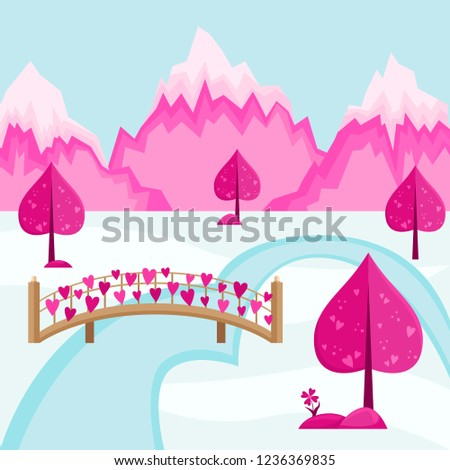 Valentines Day Background Mountain Landscape Village Stock Vector