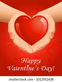 Valentine's Day background with open hands holding red heart. Vector illustration.