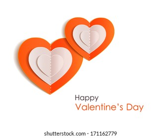 Valentines day background with paper hearts. Vector illustration