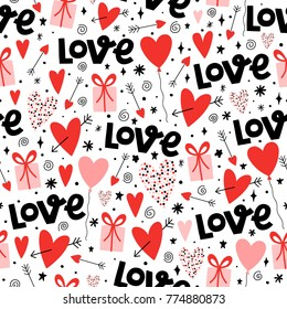 Valentines day background pattern with decorative hearts, presents and text Love.