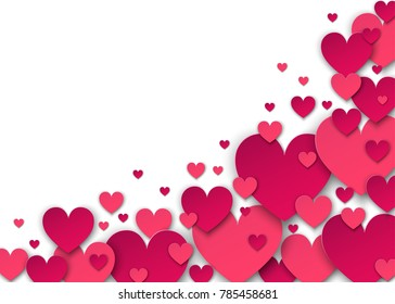 Valentine S Day Background With Pink Heart In The Corner On A White