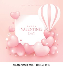 Valentines day background with pink heart and frame.