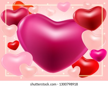 Valentines day background with pink, purple, perl hearts and shine borders. Beautiful background for 14 February. Valentines day greeting card, wallpaper, flyers, posters or wedding invitation party