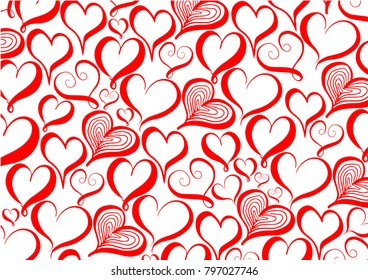 Valentine's day background with red hearts pattern.- Illustration Flirting, Love, Heart Shape, Scribble, Abstract