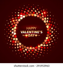 Valentine's Day background. Red shining round frame from hearts in the disco style