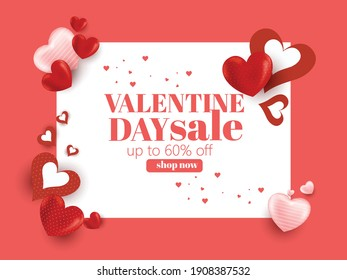 Valentines Day background Romantic composition with hearts and typography