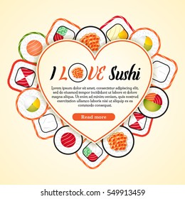 "Valentine's Day background with sushi roll set. Heart template with text sample and button ""read more"". I love sushi. Sushi delivery concept."