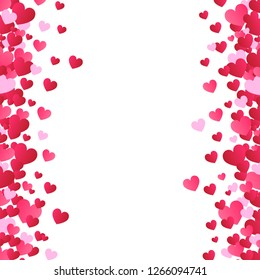 Valentines day background, vector. Red hearts isolated on white background. Valentines day backdrop for web site, love poster, wallpaper and wedding card. Creative art concept, vector illustration