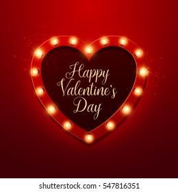 Valentine`s Day background. Vector retro light sign. Heart shape.