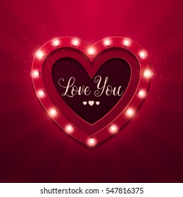 Valentine`s Day background. Vector retro light sign. Heart shape.