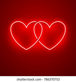 Valentines Day background. Vector retro neon sign.