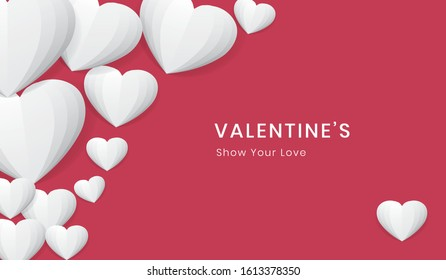 Valentine's Day Background, white heart, paper, love, red background -