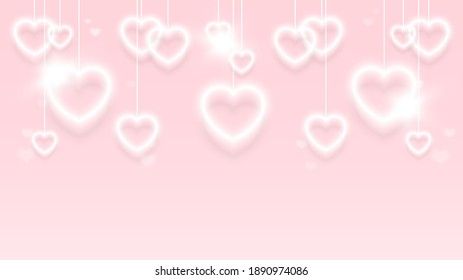 Valentine's day background. White lanterns hearts shape bokeh hanging isolated on light pink background. Symbol of love. Copy space. Vector illustration.