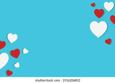 Valentines day background White and red hearts on a blue background Valentines day ideas