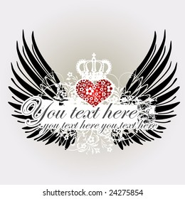 The Valentine's day background with wings and heart, love (vector)