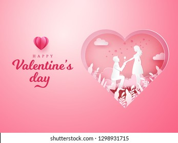 Valentine's Day background. Young man kneeling to his girlfriend and giving a rose with carved heart background. paper cut style vector illustration