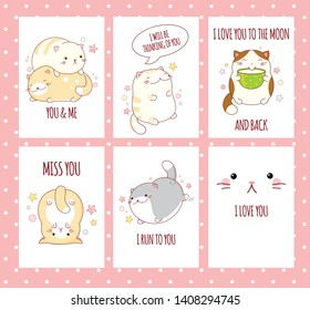 Valentine's day banner background, flyer, placard, sticker with cute cats and inscription miss you, i run to you, i love you to the moon and back. Vector template card for congratulation, invitation