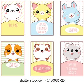 Valentine's day banner, background, flyer, placard with cute animals. Holiday poster for scrapbooking. Vector template card for greeting, decoration, congratulation, invitation. EPS8