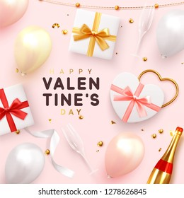 Valentines Day banner. Background realistic gifts box shape heart, balloons, glitter gold confetti and tinsel, champagne bottle and wine glass. Holiday poster, greeting cards, headers, website