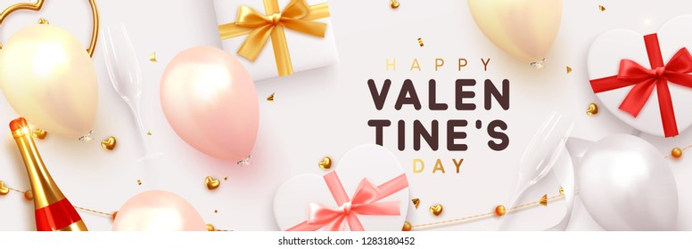 Valentines Day banner. Background realistic gifts box shape heart, balloons, glitter gold confetti and tinsel, champagne bottle and wine glass. Horizontal poster, greeting cards, headers, website