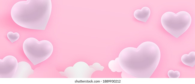 Valentine's day banner with glossy white hearts. Empty space, gift box cover, greeting card banner. wallpaper.