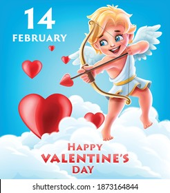 valentine's day banner illustrated with cupid angel with arrow and hearts