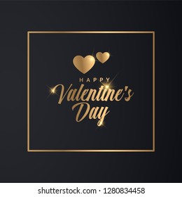 Valentines Day Banner. Luxury Golden Typographic Valentine's Day Design.