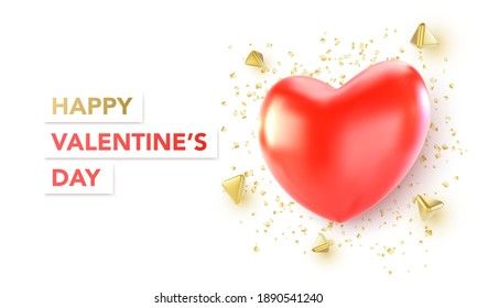 Valentines Day banner with red heart. Vector illustration